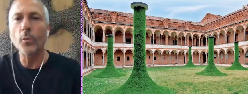Humberto Campana, na Expo Revestir 2021: trabalho em universidade de Roma usa grama como protagonista. Foto: Reprodução.