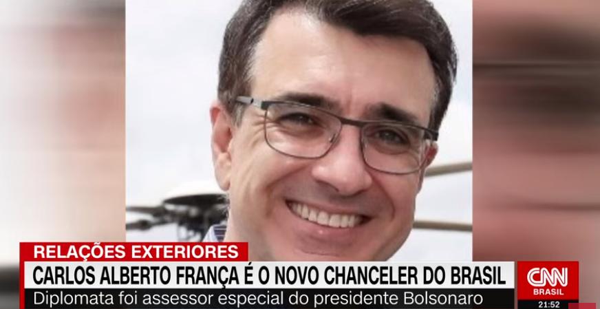 O embaixador Carlos Alberto Franco França será o substituto do chanceler Ernesto Araújo no Itamaraty.