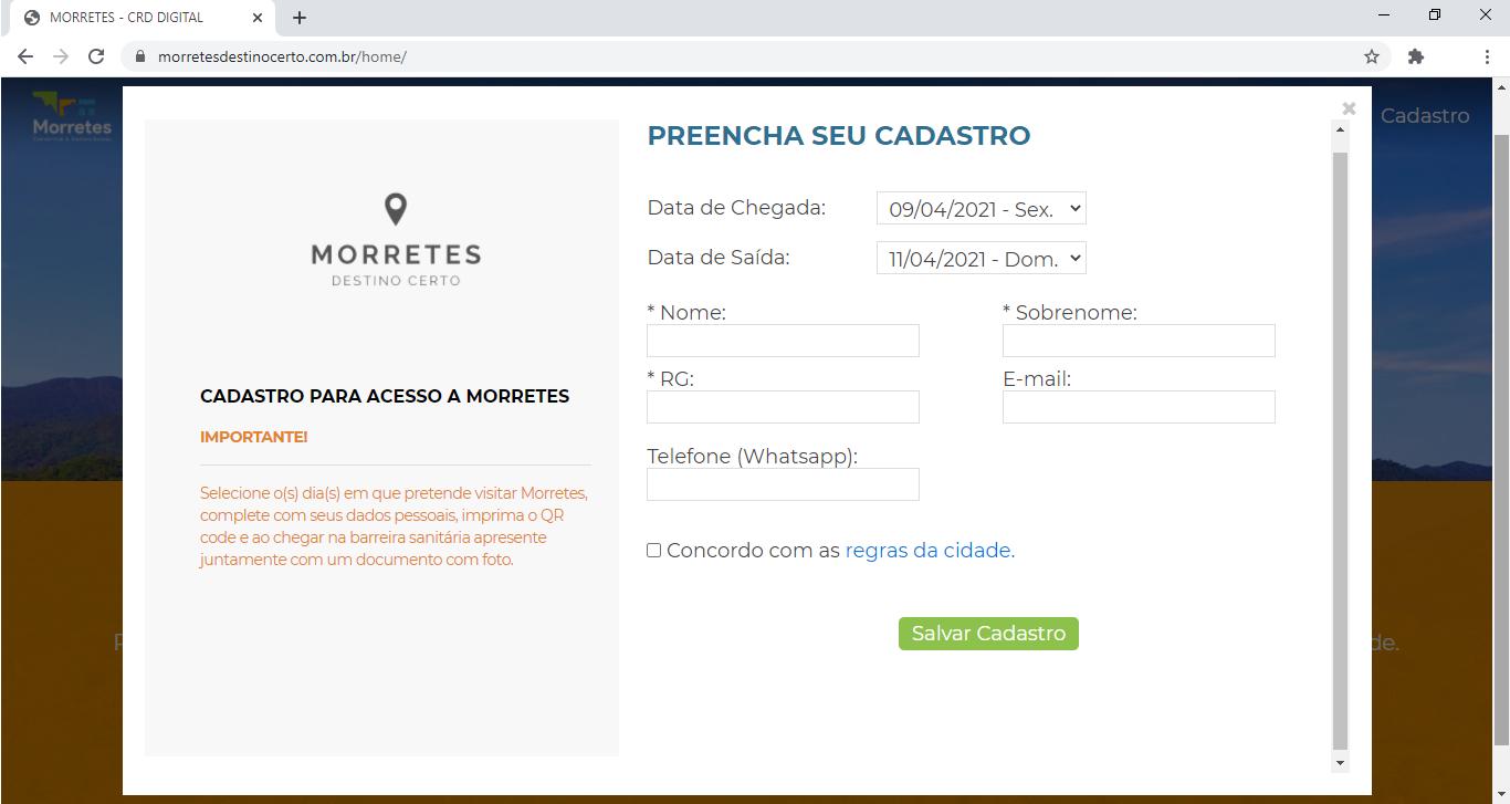 """O cadastro feito pelo site <a href=""""http://www.morretesdestinocerto.com.br"""">www.morretesdestinocerto.com.br</a> é obrigatório para entrar na cidade."""