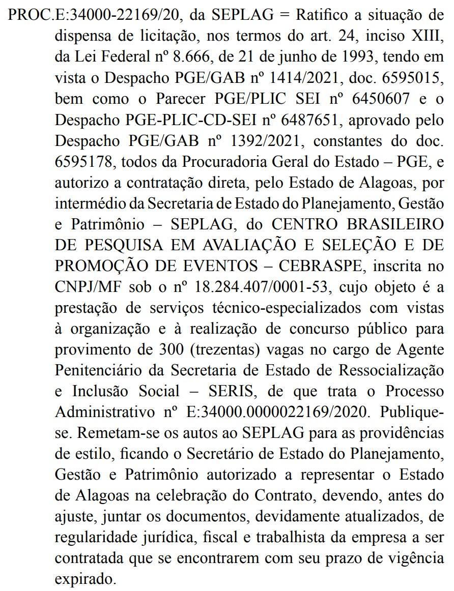 Reprodução do Diário Oficial de Alagoas