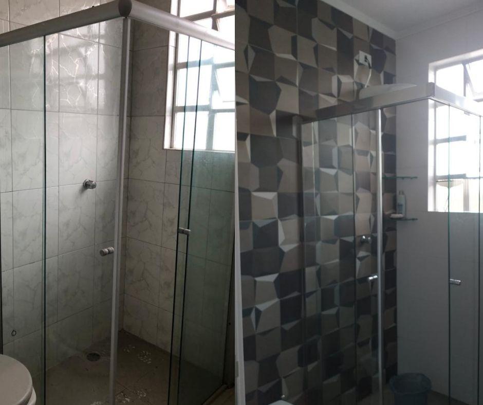 Antes e depois do banheiro do apartamento.