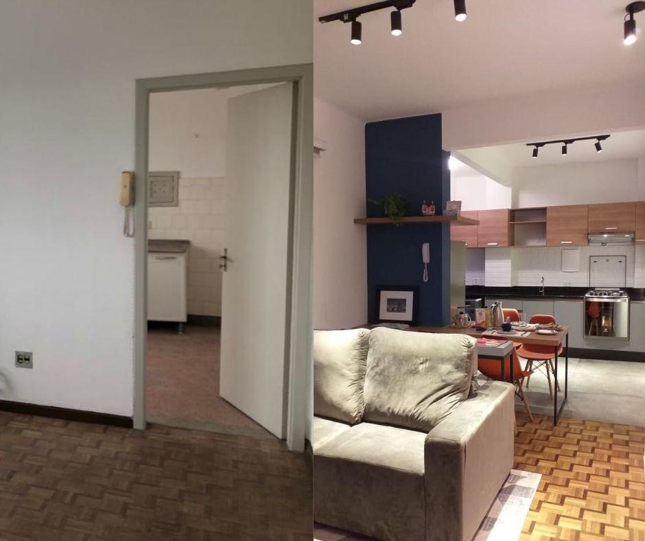 Antes e depois de reforma de apartamento de 53 m².