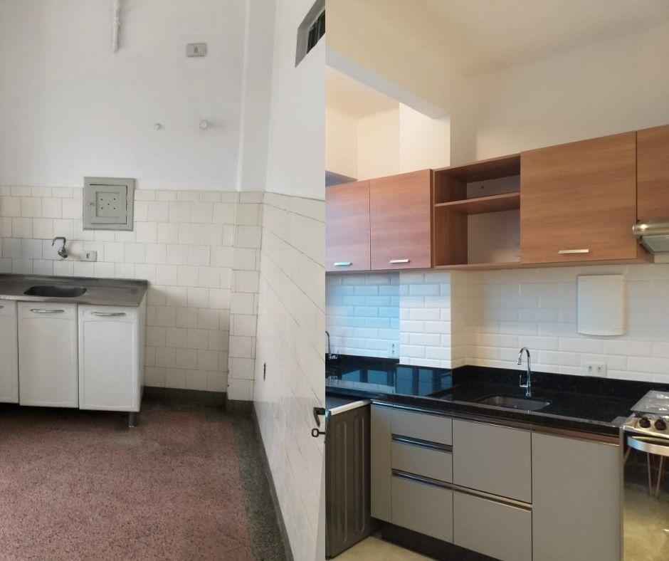 Antes e depois da área da cozinha, que foi integrada aos outros espaços sociais.