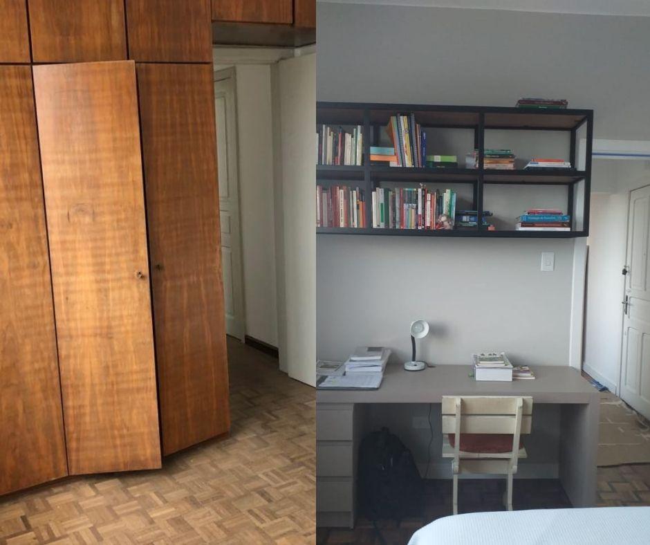 Antes e depois da área do home office no quarto.