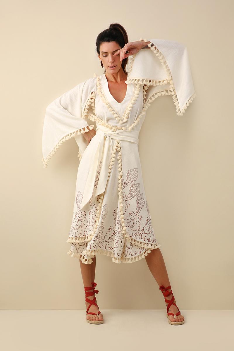 Kimono Carimbo Midi Off-White, por Cecilia Echenique.