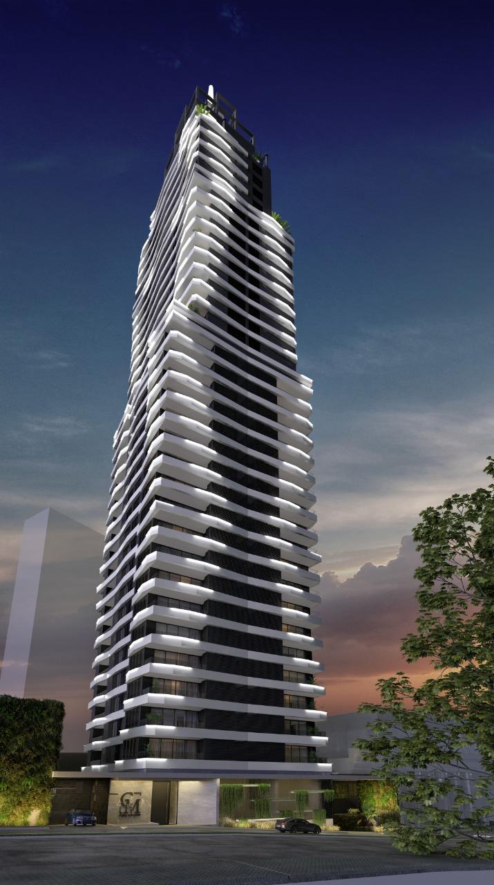 Fachada do Casa Milano, da GT Building, que será um dos arranha-céus mais altos de Curitiba.