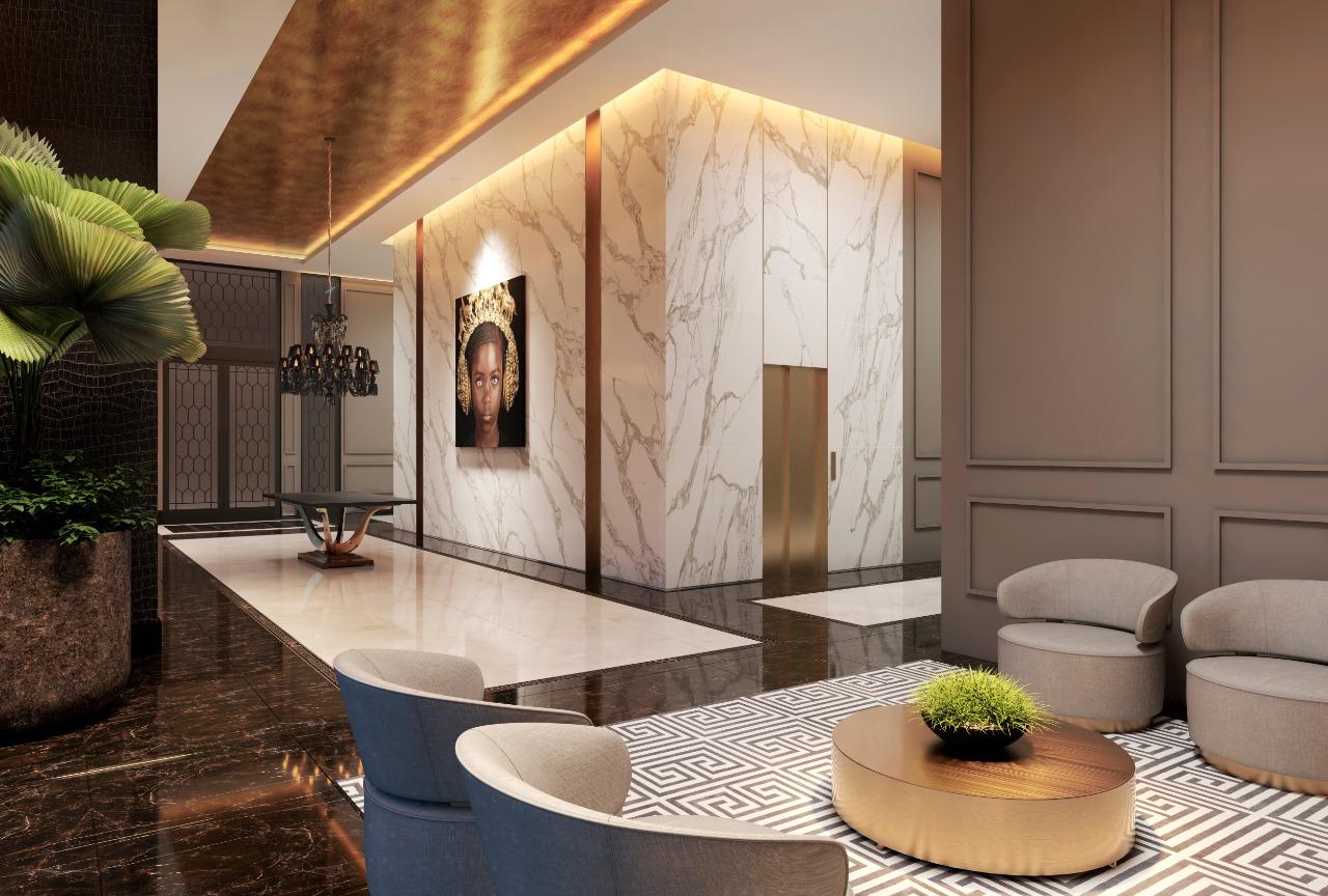 Interior da área comum do edifício Casa Milano, com revestimentos de altíssimo padrão da italiana Versace.
