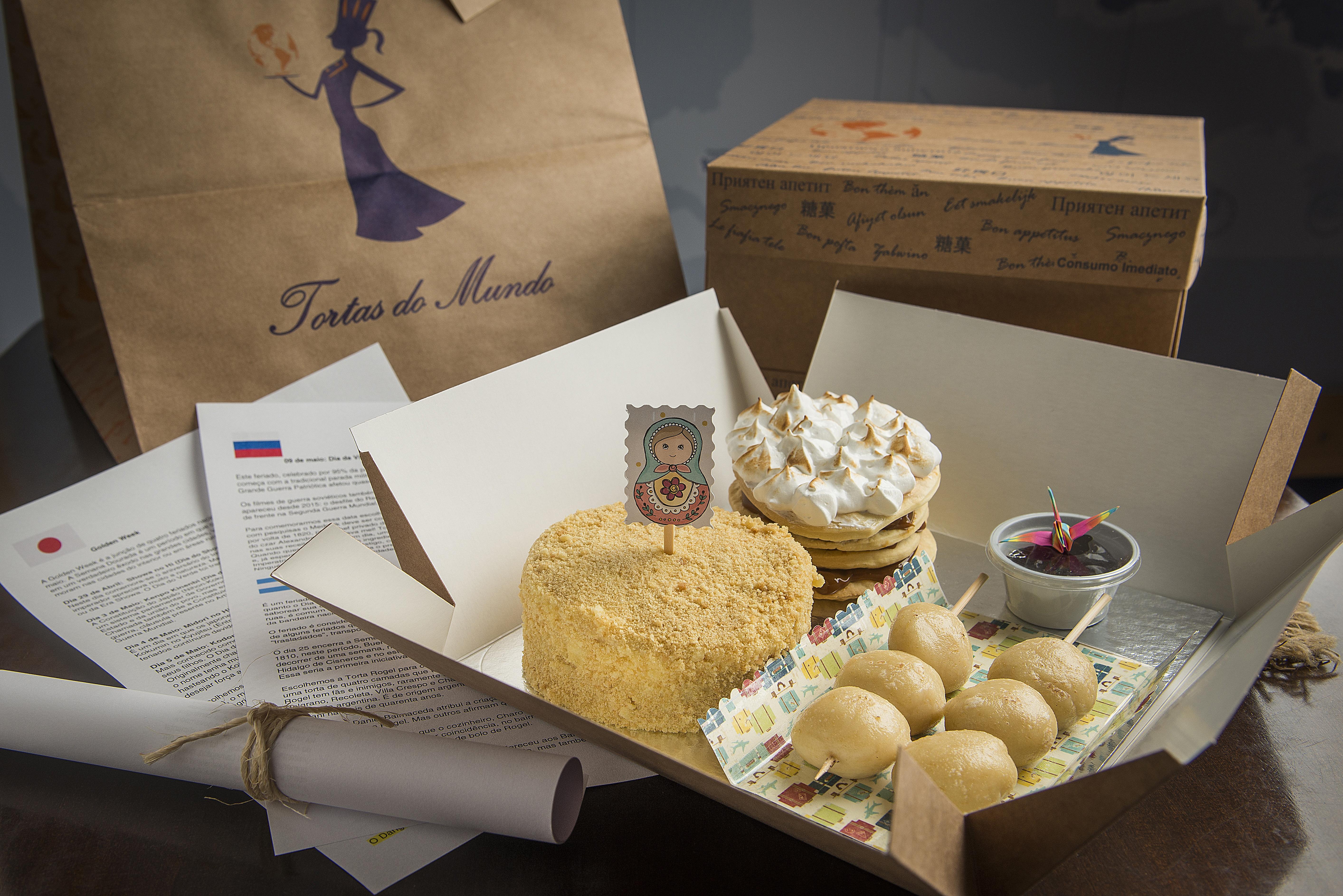 A Caixa de sabores do Tortas do Mundo neste mês de maio, comemora com tortas datas nacionais de Rússia, Argentina e Japão.