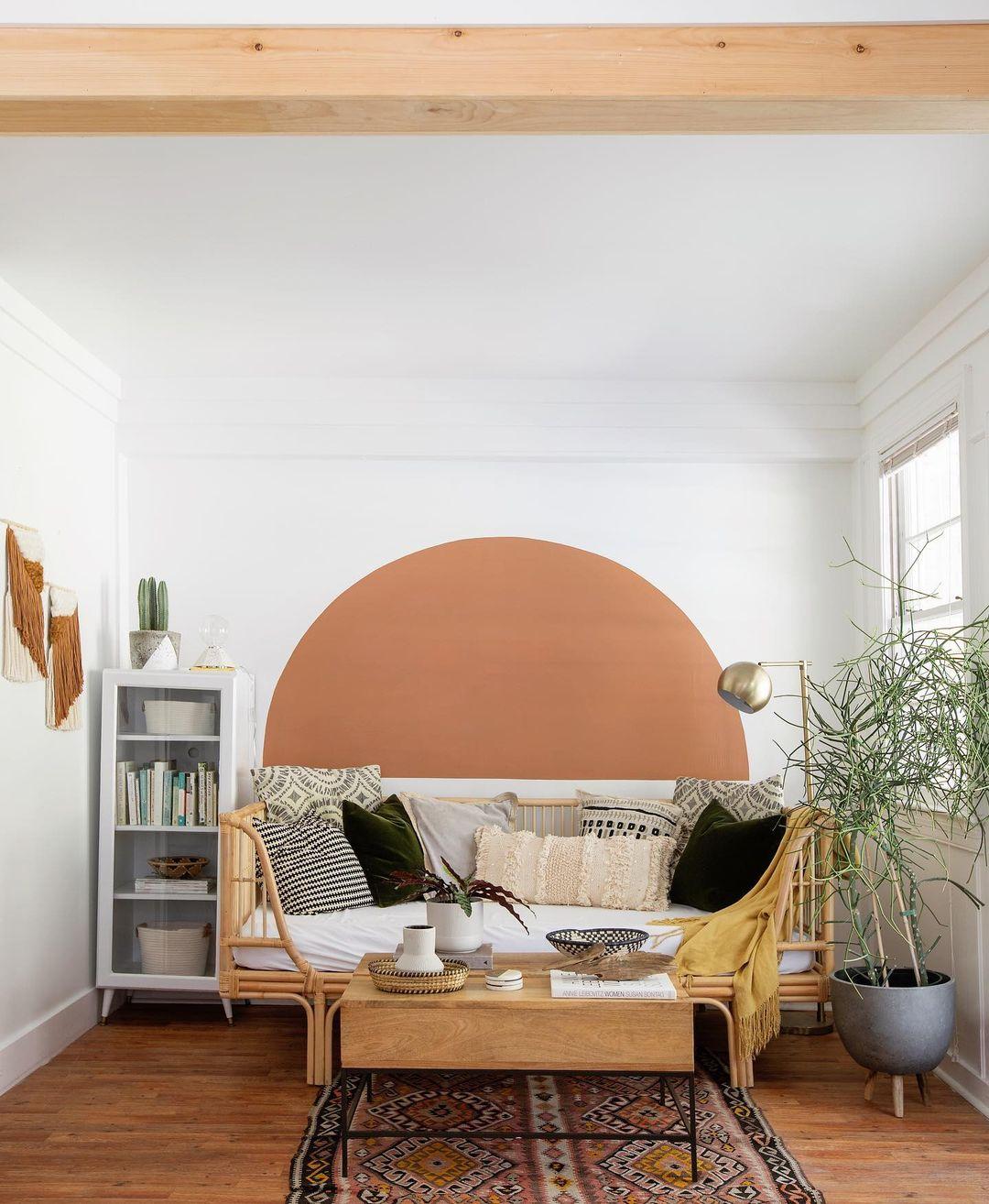 Semicírculo é mais uma opção de pintura geométrica.