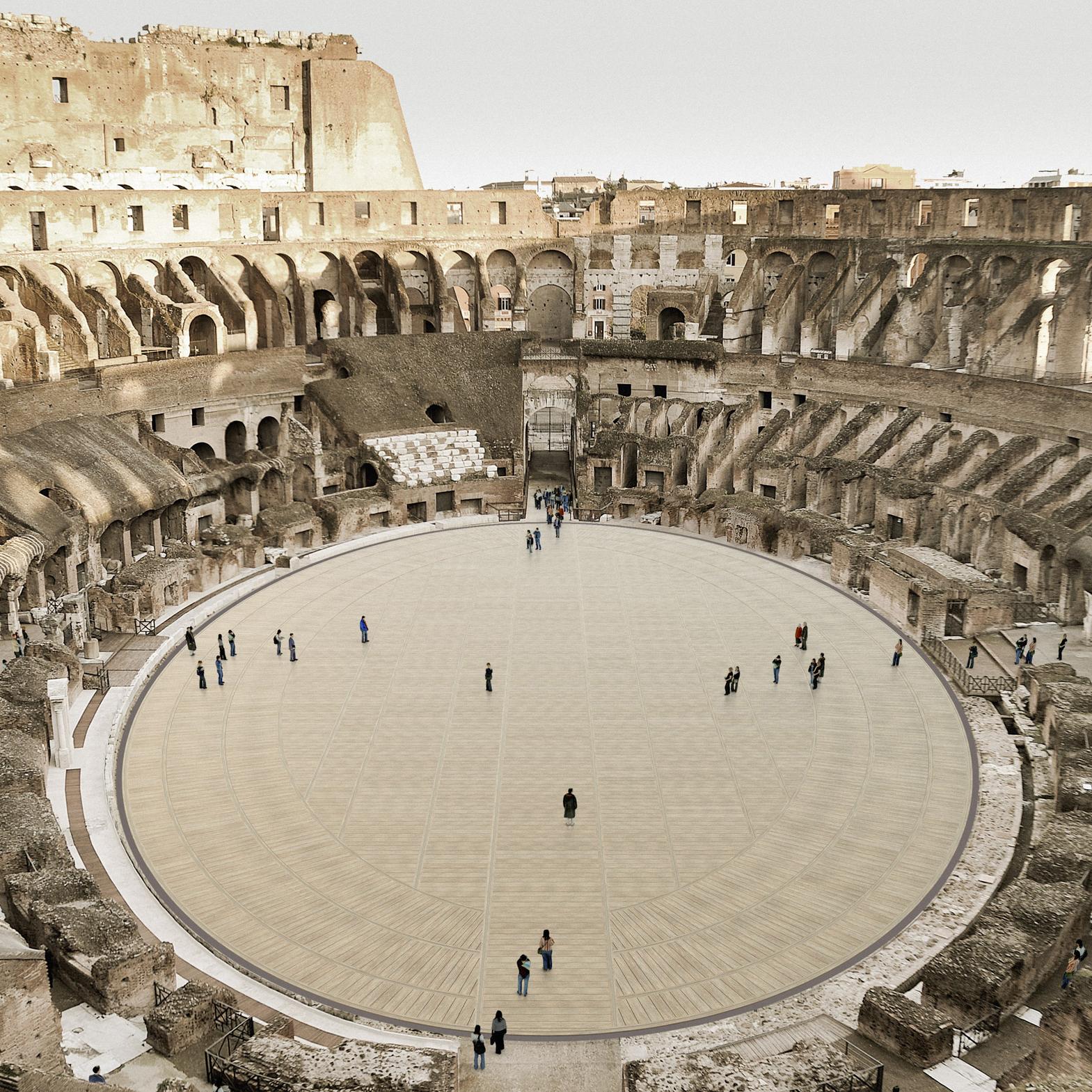 Piso retrátil permitirá aos turistas chegarem ao centro da arena.