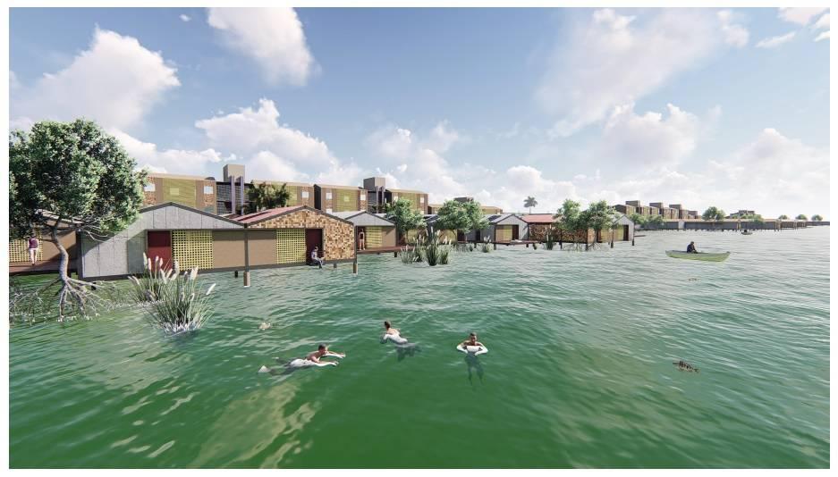 Projeto para Santos propõe a requalificação das palafitas, tipo de moradia comum ao local.