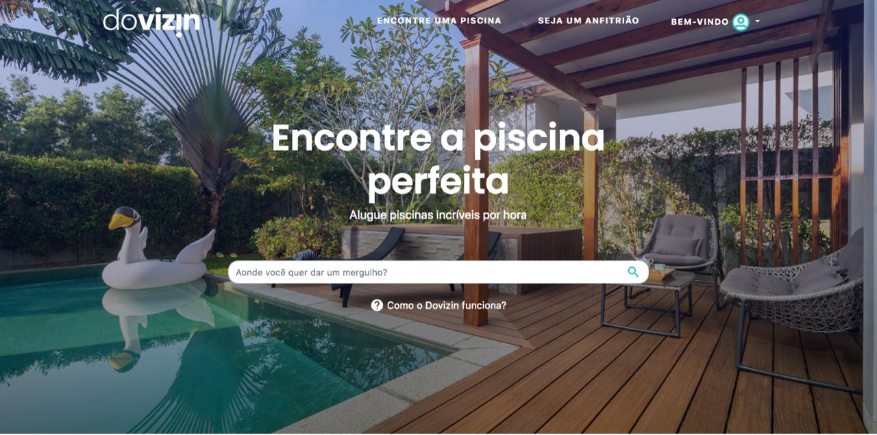 A plataforma oferece aluguel de piscina com pagamento por hora. Foto: Divulgação/Dovizin