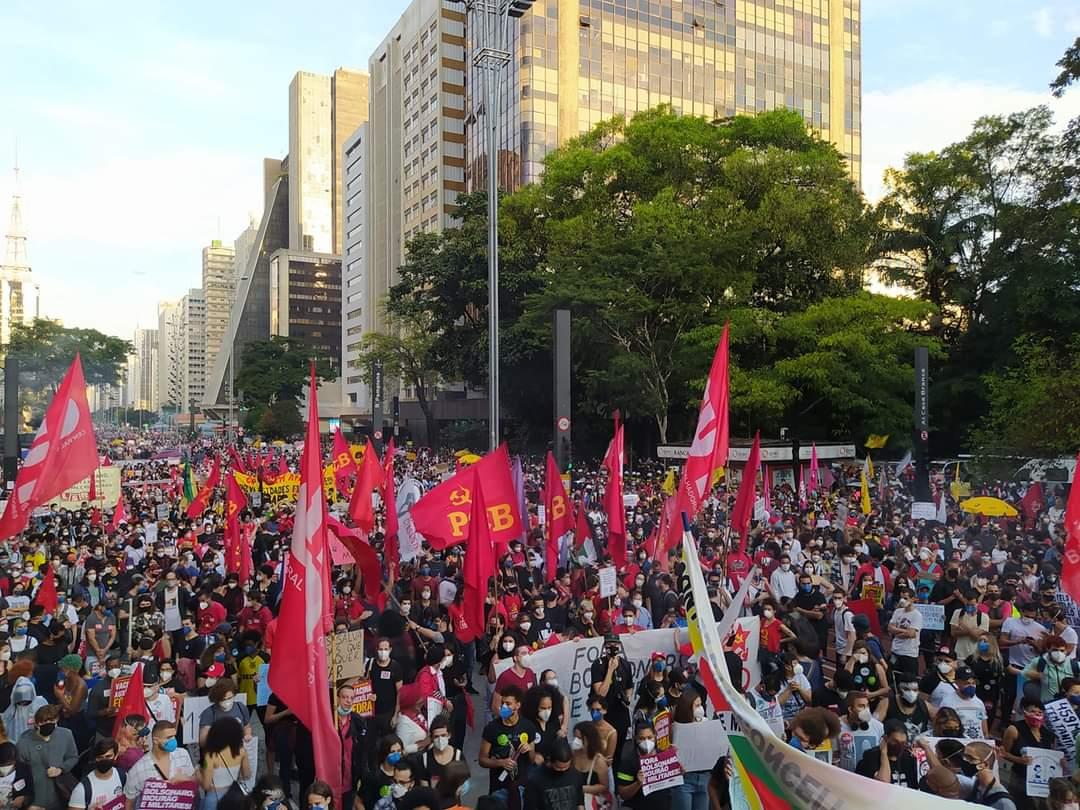 Imagem da Avenida Paulista nos protestos deste sábado. Foto: Reprodução Twitter