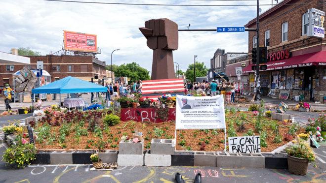 Memorial em homenagem a George Floyd, em Minnesota, EUA.