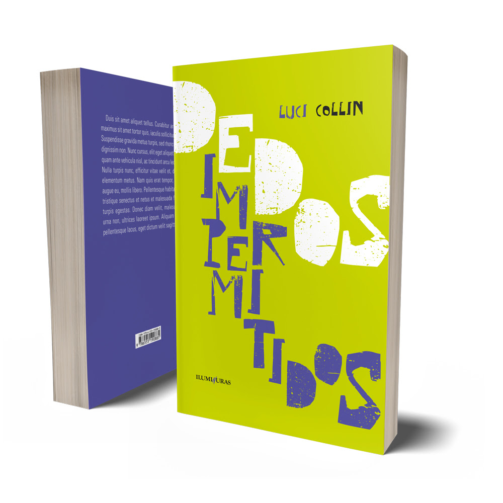 """Capa do livro """"Dedos impermitidos"""" de Luci Collin. O fundo é verde-limão, com """"Dedos"""" escrito em branco e """"Impermitidos"""", em lilás, mesma cor da contracapa da obra."""