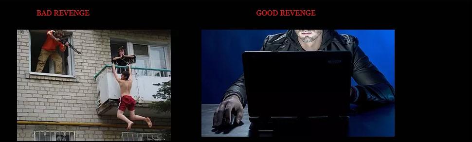 reprodução do site da Nefarious Jobs: vingança ruim x vingança boa