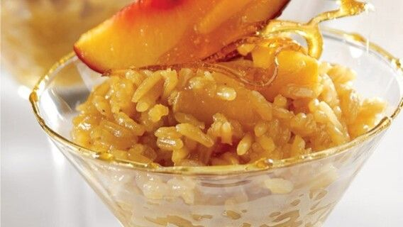 O arroz doce gaúcho leva pêssego na receita. Divulgação: Tio João