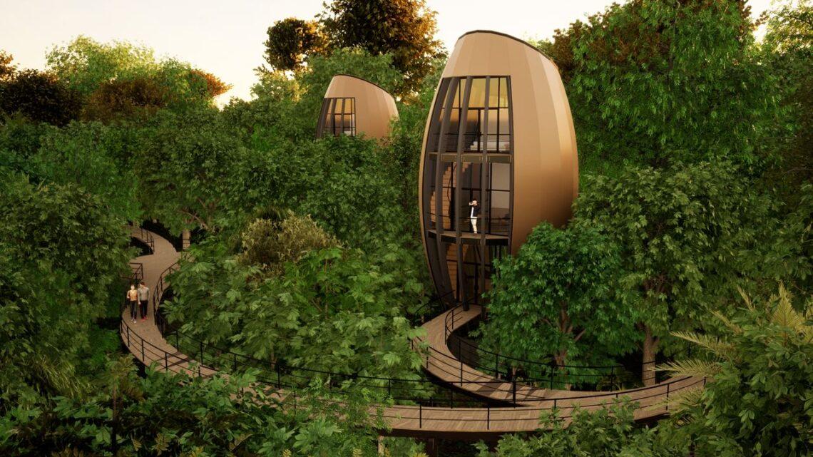 Módulos biomimetizados imitam sementes e abrigam os dormitórios.