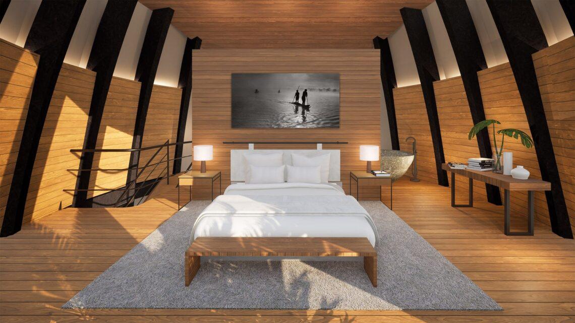 Interiores têm projeto limpo e confortável.