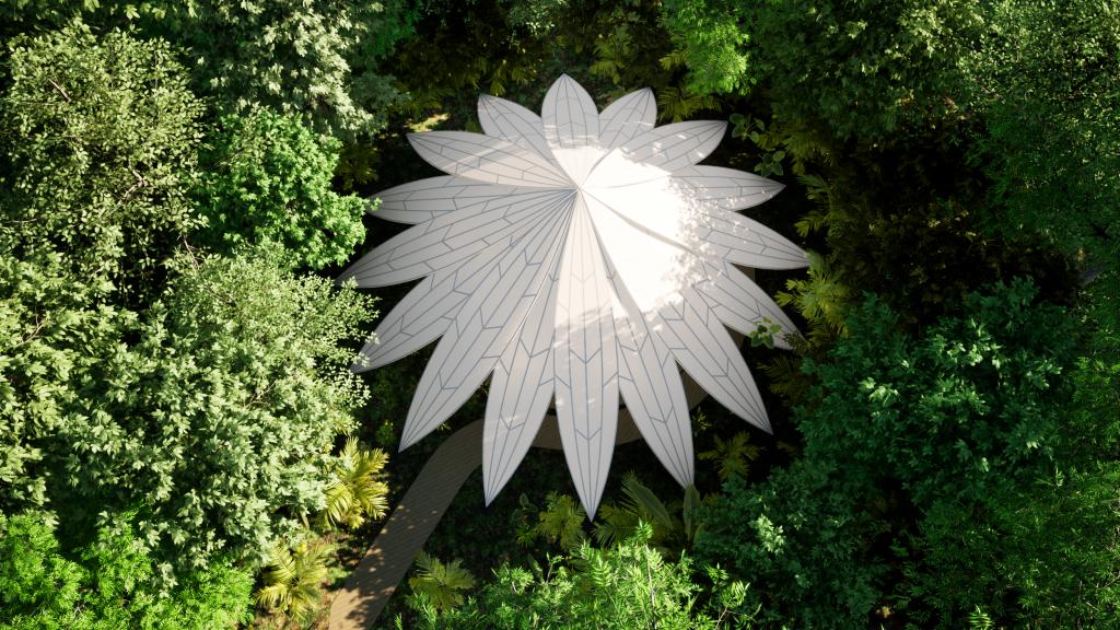 Afastada na mata, a Casa de Cura tem forma inspirada na flor vitória-régia.