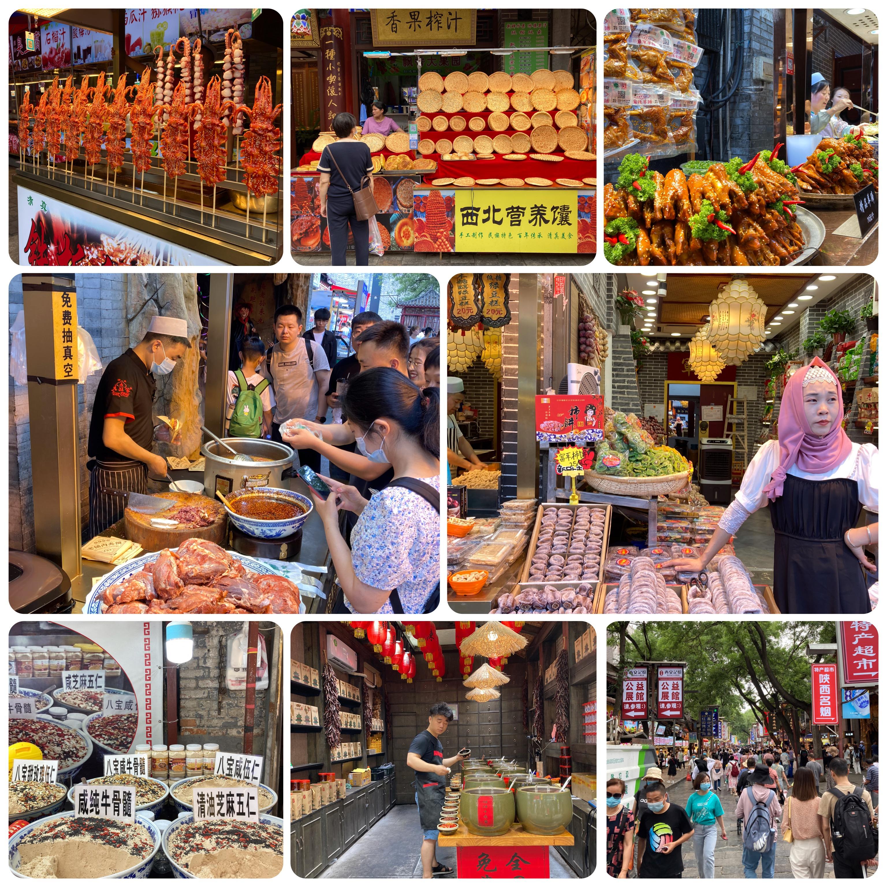 Historiadores afirmam que a Feirinha Gastronômica do bairro muçulmano, a mais famosa de Xi'an, marca o início da Rota da Seda, onde os comerciantes se encontravam e de onde partiam para o Ocidente