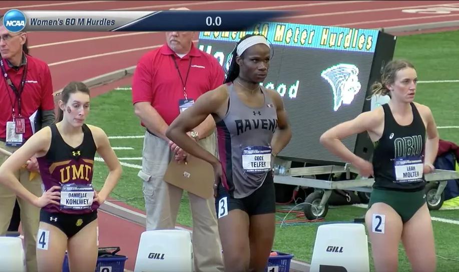<em>Velocista Cecé Telfer disputando prova de corrida com barreira na liga universitária norte-americana na categoria feminina (Crédito: Reprodução NCAA)</em>