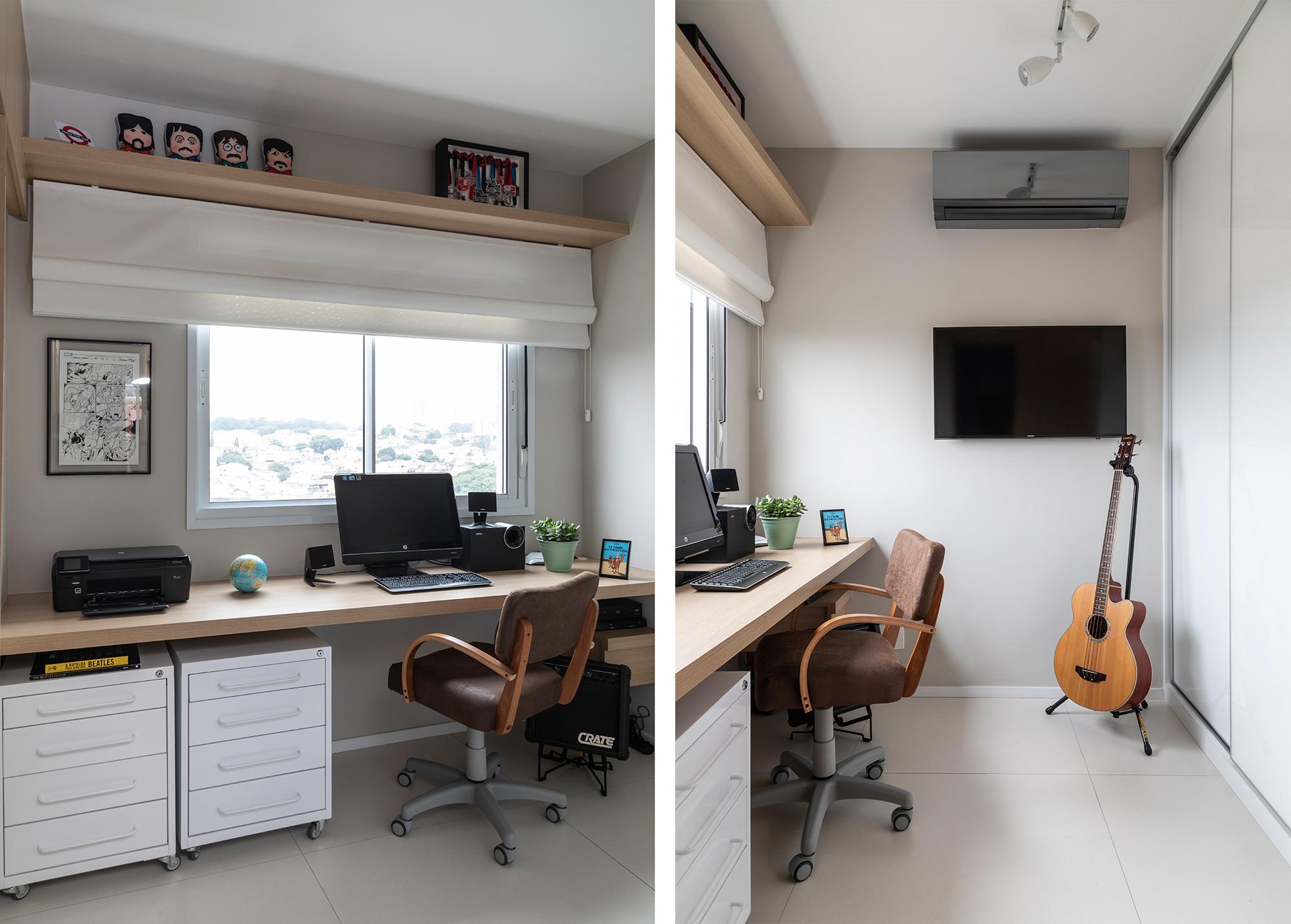 Escritório com bancada, cadeira ergonômica, móveis soltos e iluminação natural permite uma boa rotina de trabalho.