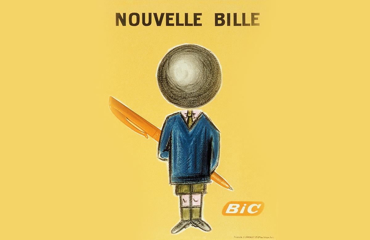 Em 1960, a marca desenvolveu, junto ao designer francês Raymond Savignac, uma campanha para promover sua nova BIC BALLPOINT. Para chamar a atenção das crianças, o logo era um estudante com a cabeça sendo substituída pela ponta redonda das famosas canetas, segurando uma caneta por trás. Surgia assim o BIC BOY.