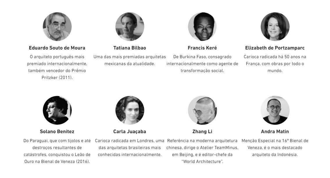Alguns dos prestigiados profissionais com presença confirmada no UIA2021RIO.