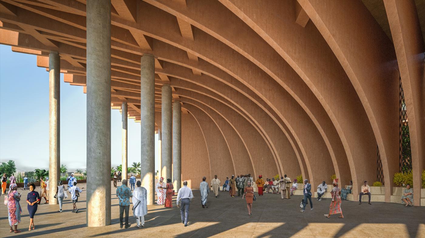 Detalhe da varanda pública criada pela curvatura do prédio da Assembleia Nacional de Benin.