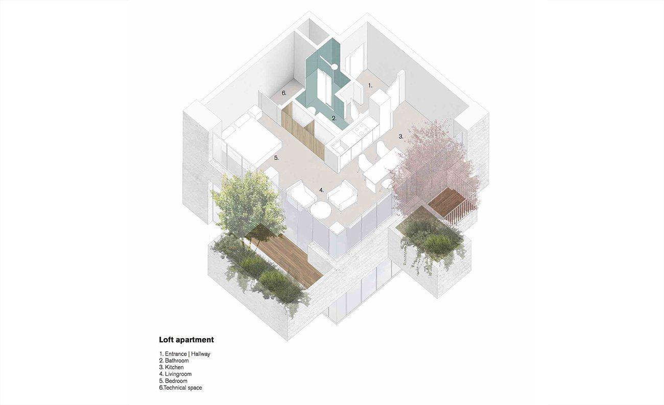 Planta de uma unidade do edifício que está sendo construído em Eindhoven.