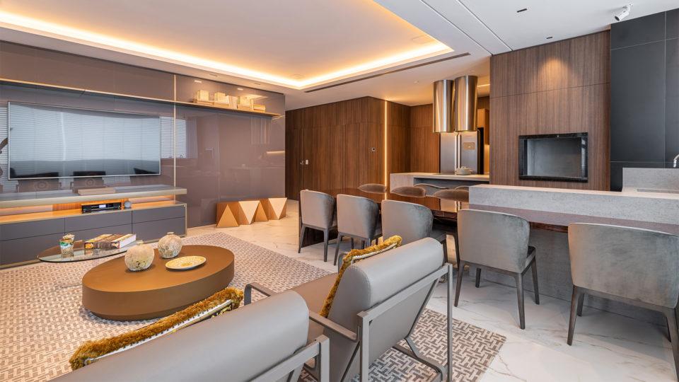 Living e espaço gourmet integrados