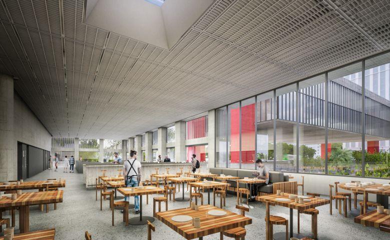 Café e restaurante estão previstos no programa do novo edifício.