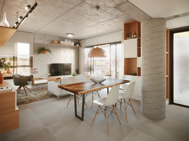 Perspectiva mostra como será área interna de apartamento do MUDA WF.