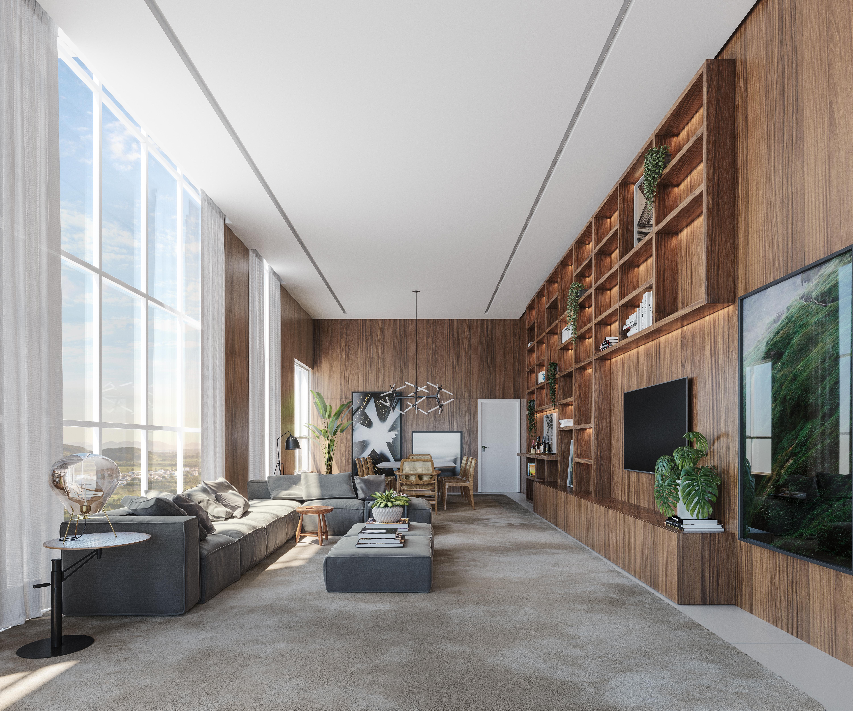 Living da cobertura do L'Atelier Concept Homes.