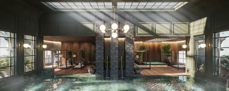 Perspectiva de como será a piscina aquecida do imóvel em Itapema.