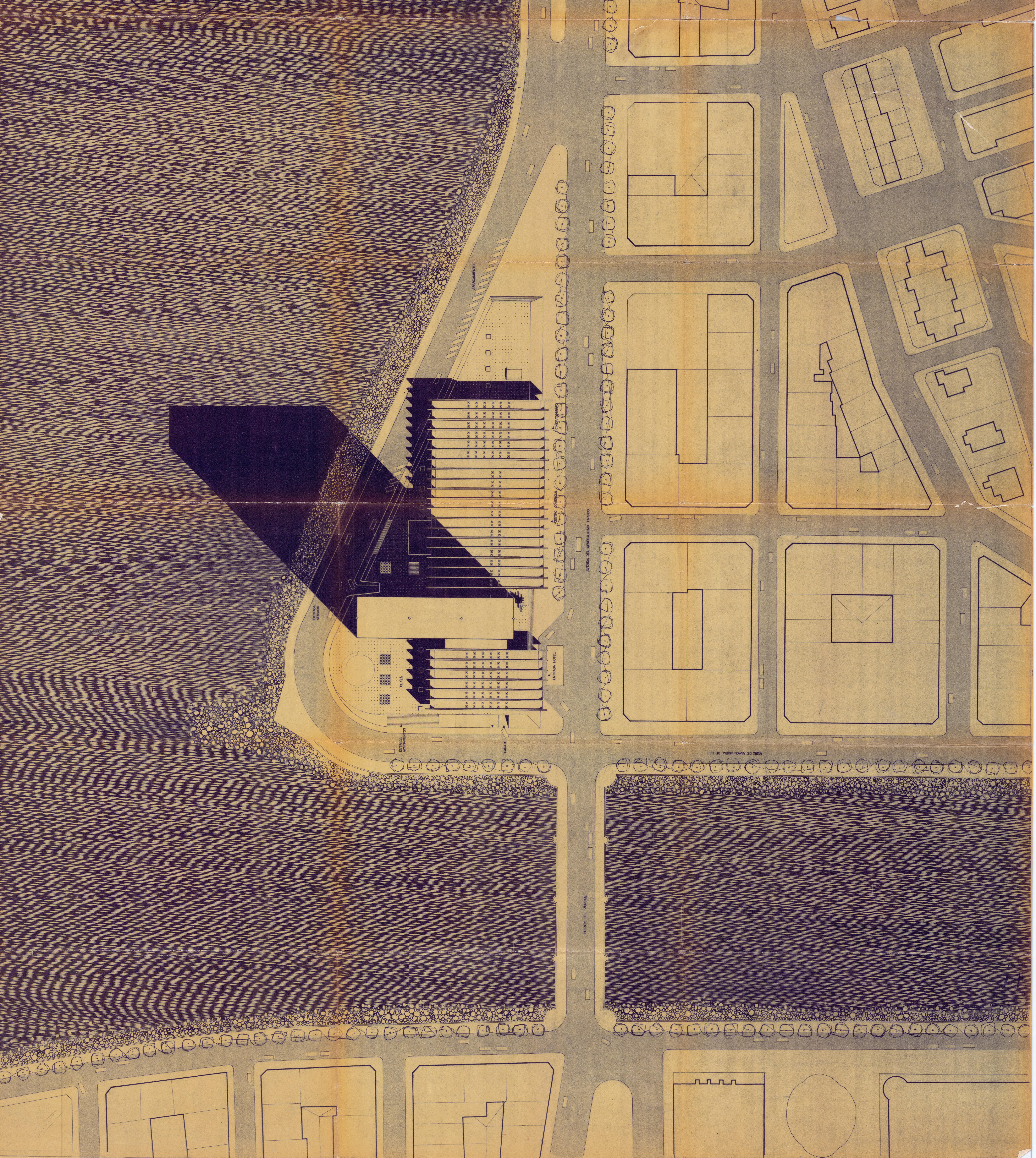 Projeto de 1965, para o Complexo Turístico Internacional Euro Kursaal, na Espanha, por José Maria Gandolfi, Luiz Forte Netto, Roberto Luis Gandolfi, Lubomir Fiscinski Dunin e Jaime Lerner.