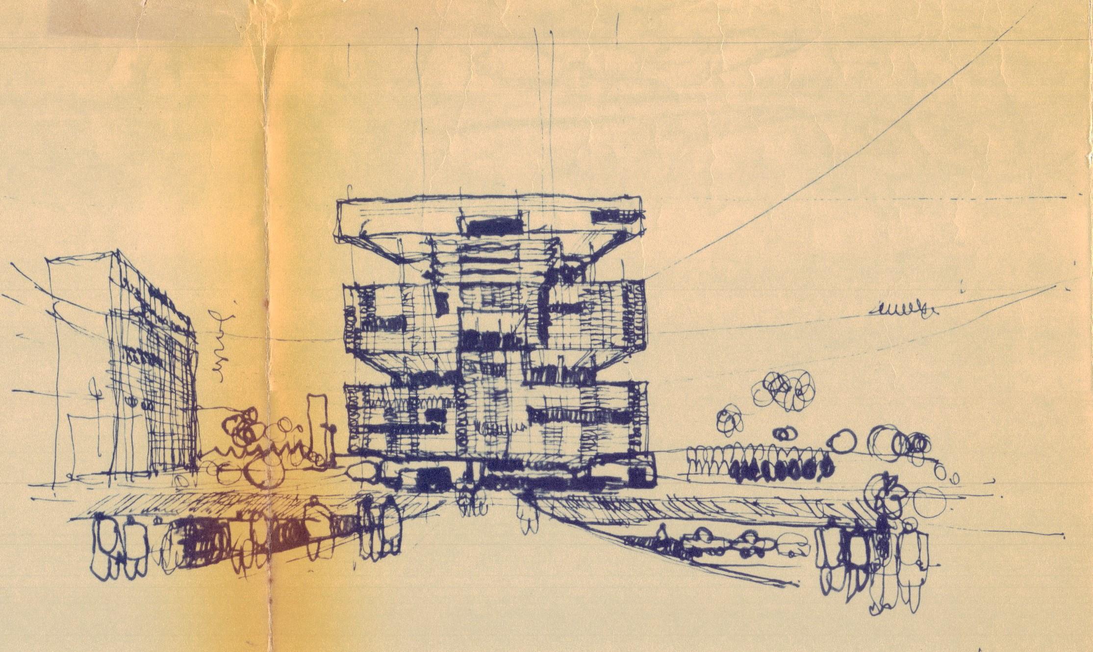 Desenho feito à mão da proposta do edifício para a Petrobras, de 1966.