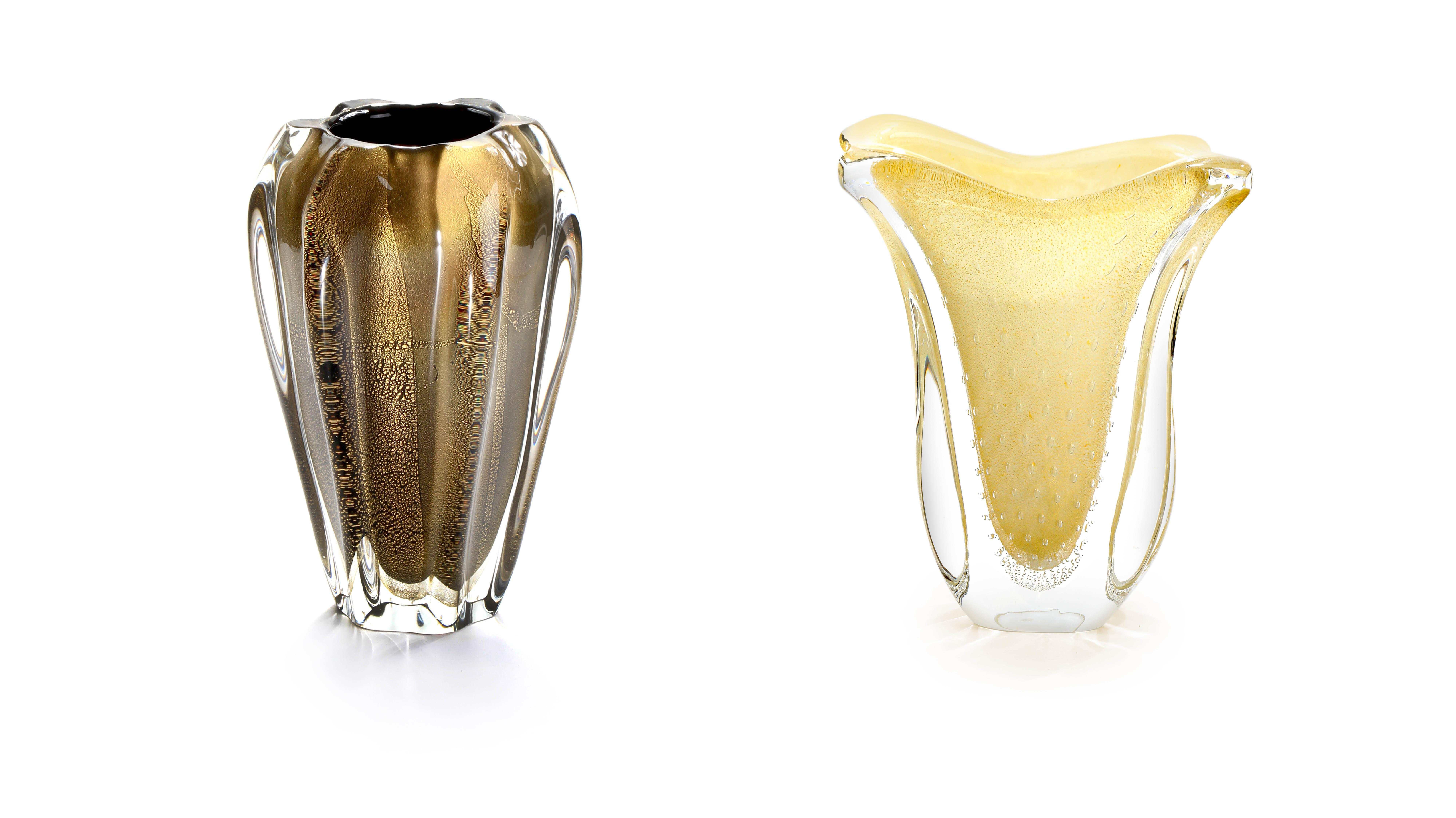 Vasos de vidro tipo Murano com ouro 24k.