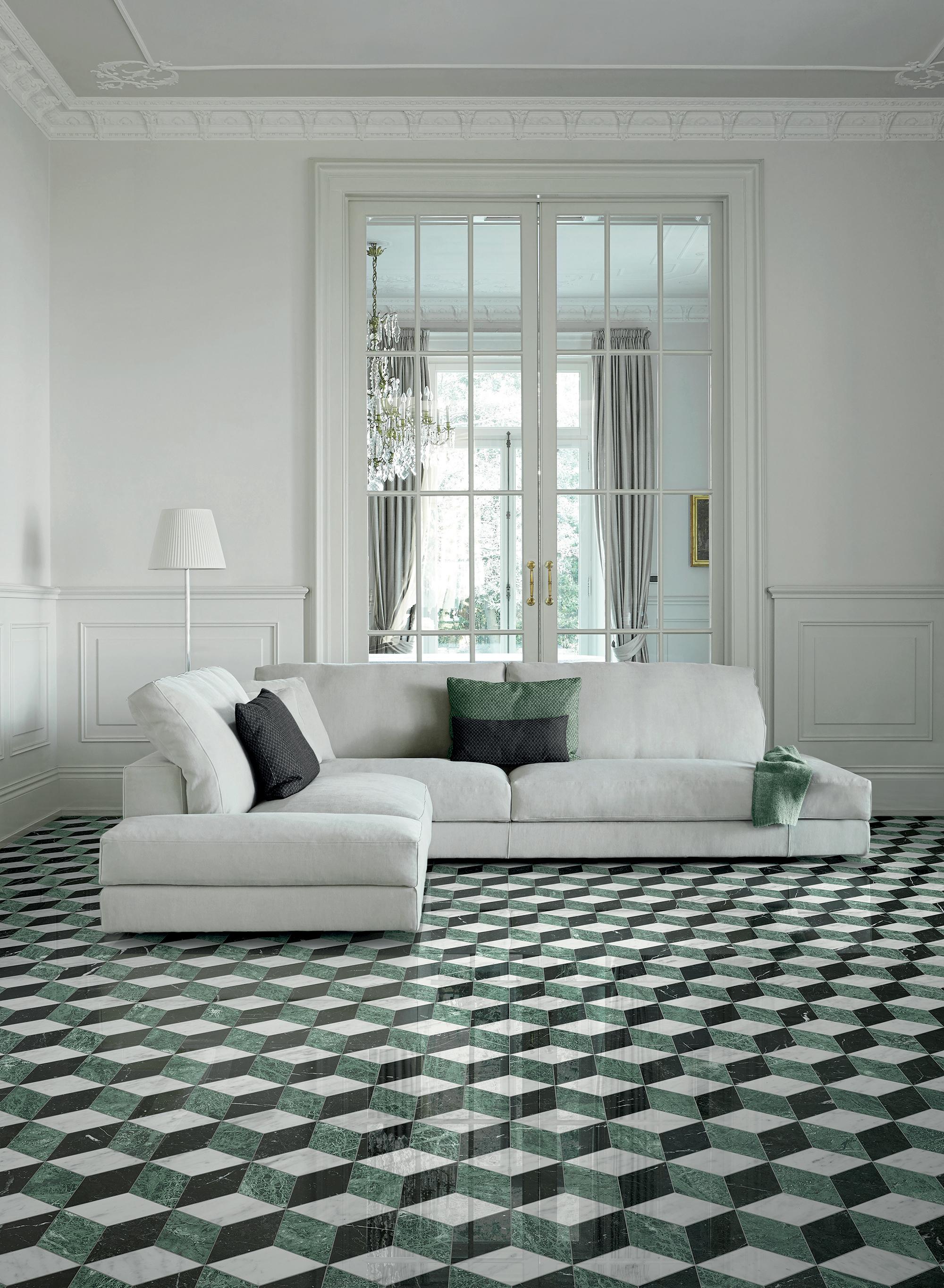 Coleção Marmo, da Bisazza, brinca com diferentes formas geométricas de forma elegante.
