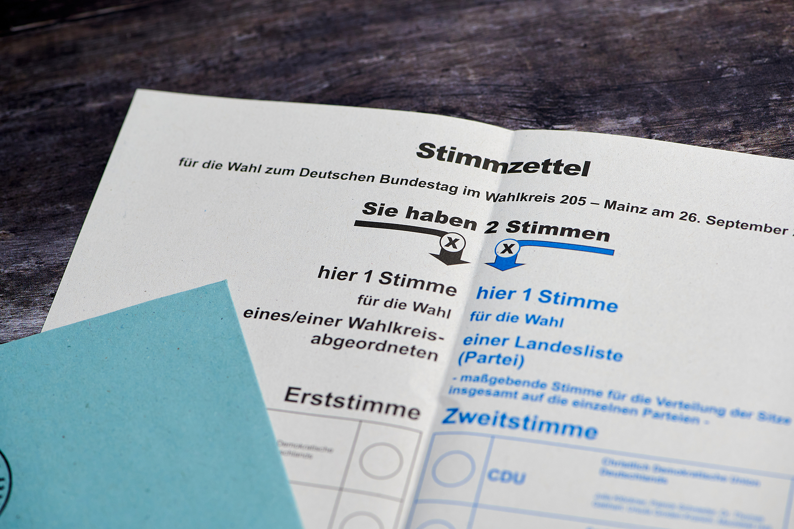 Cédula de papel do distrito eleitoral de Mainz para votação por correio nas eleições federais da Alemanha, que ocorrem em 26 de setembro   Foto: BigStock