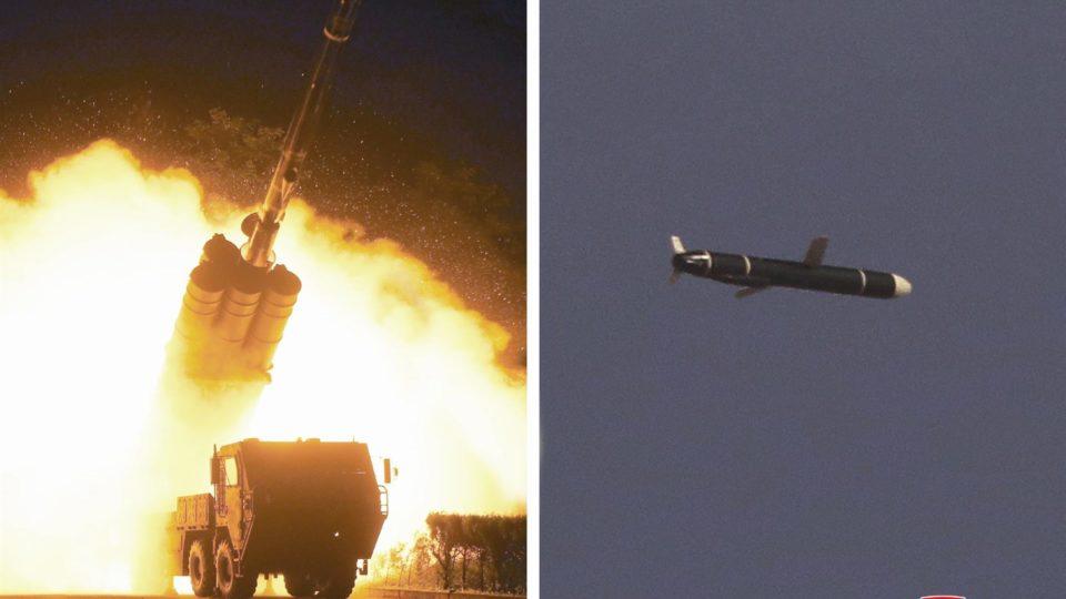 Combinação de fotos divulgada pela agência estatal da Coreia do Norte KCNA, em 13 de setembro, mostra teste de míssil de cruzeiro de longo alcance