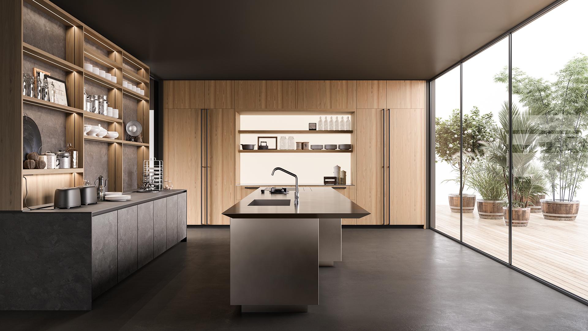 Para as cozinhas, a tendência são as cores neutras, principalmente tons de cinza. Os móveis misturam materiais como madeira e laca a metais e vidros