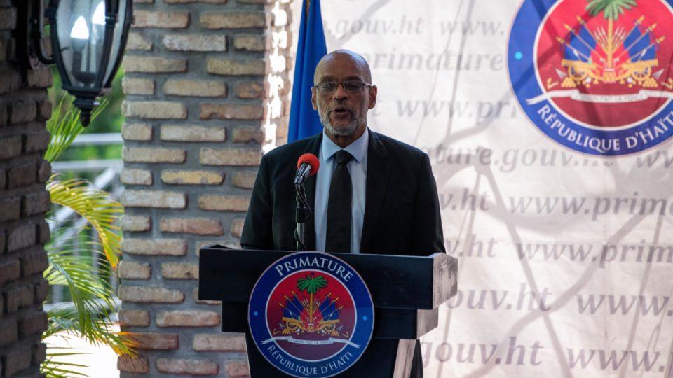 O primeiro-ministro do Haiti, Ariel Henry, em evento em Porto Príncipe em 11 de setembro