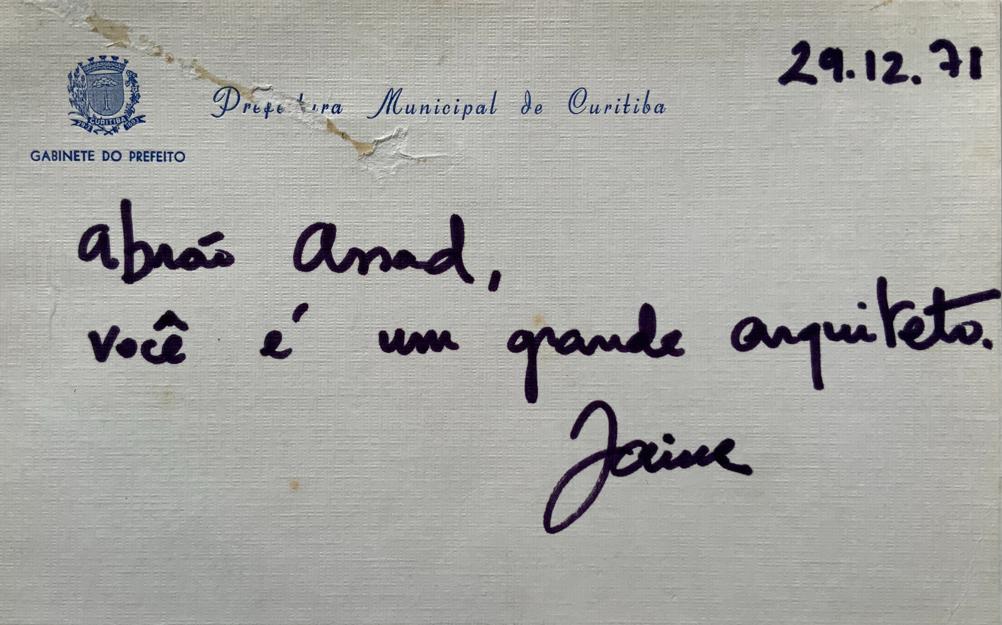Postal enviado por Jaime Lerner a Abrão Assad.