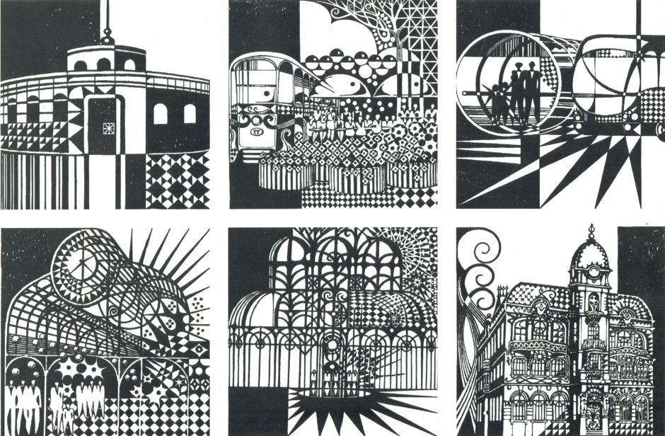 Ilustração dos projetos realizados por Abrão Assad em Curitiba.