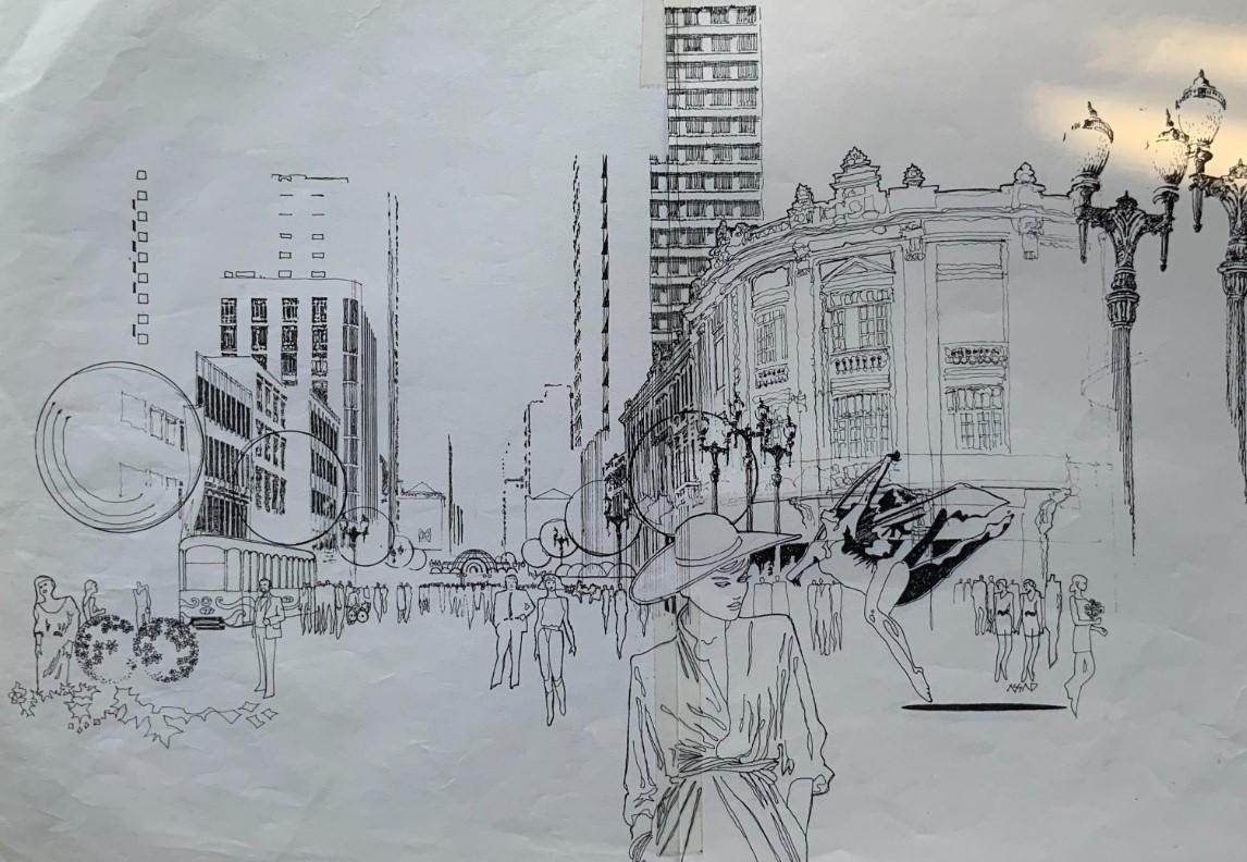 Um croqui da Rua das Flores onde aparecem Jaime Lerner e Abrão Assad.