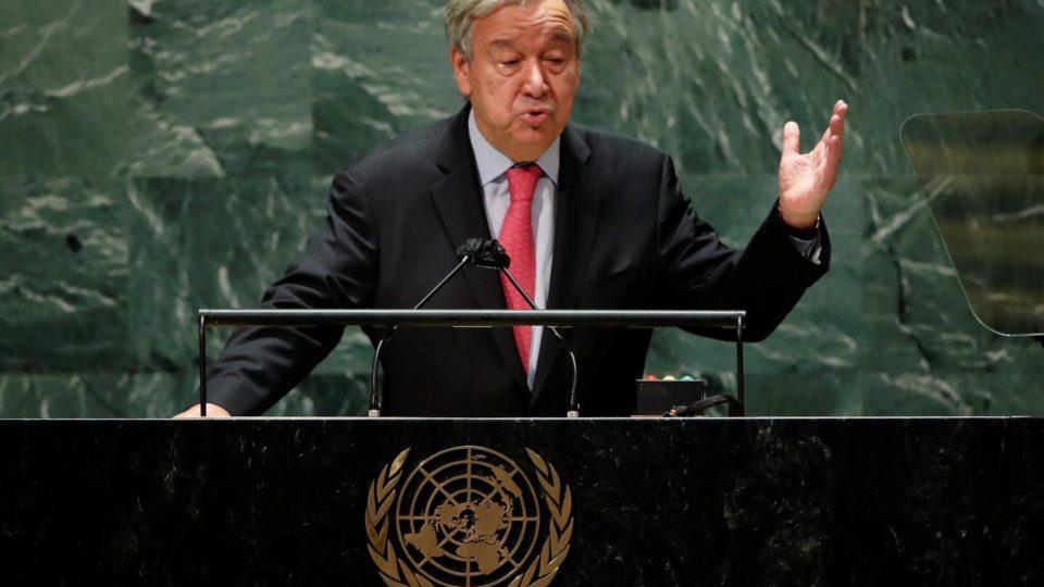 O secretário-geral da Organização das Nações Unidas (ONU), Antonio Guterres, discursa na Assembleia Geral da organização em Nova York, 21 de setembro