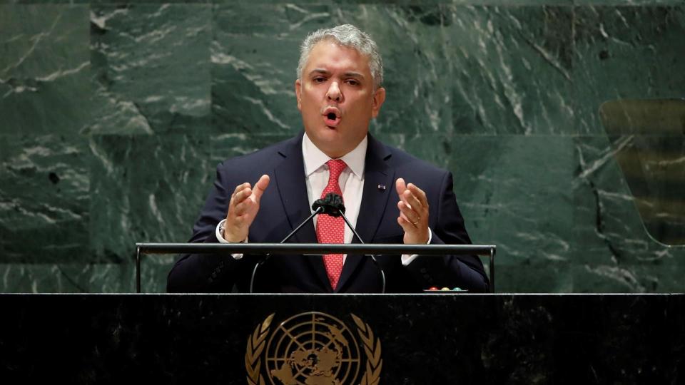 O presidente da Colômbia, Iván Duque, discursa na Assembleia Geral das Nações Unidas, em Nova York, 21 de setembro