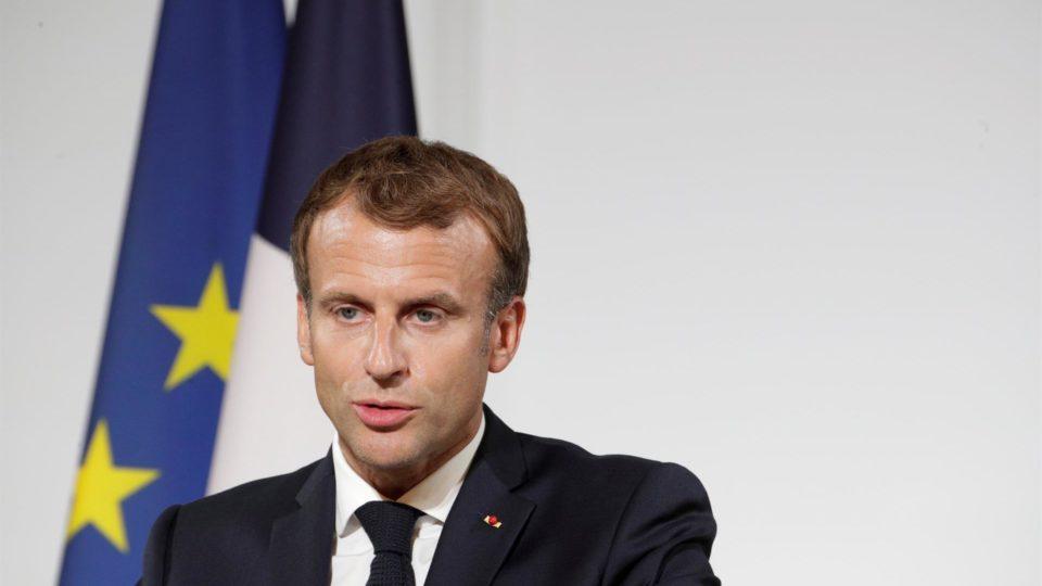 O presidente da França, Emmanuel Macron, em cerimônia no Palácio Eliseu, Paris, 20 de setembro